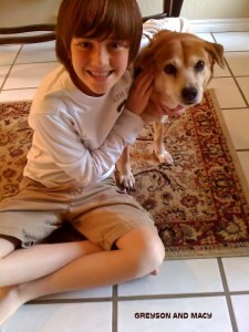 Greyson photo with macy the dog;)