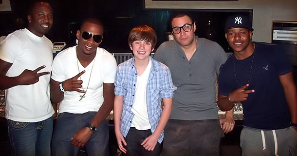 Greyson chance and The whole Team in the studio